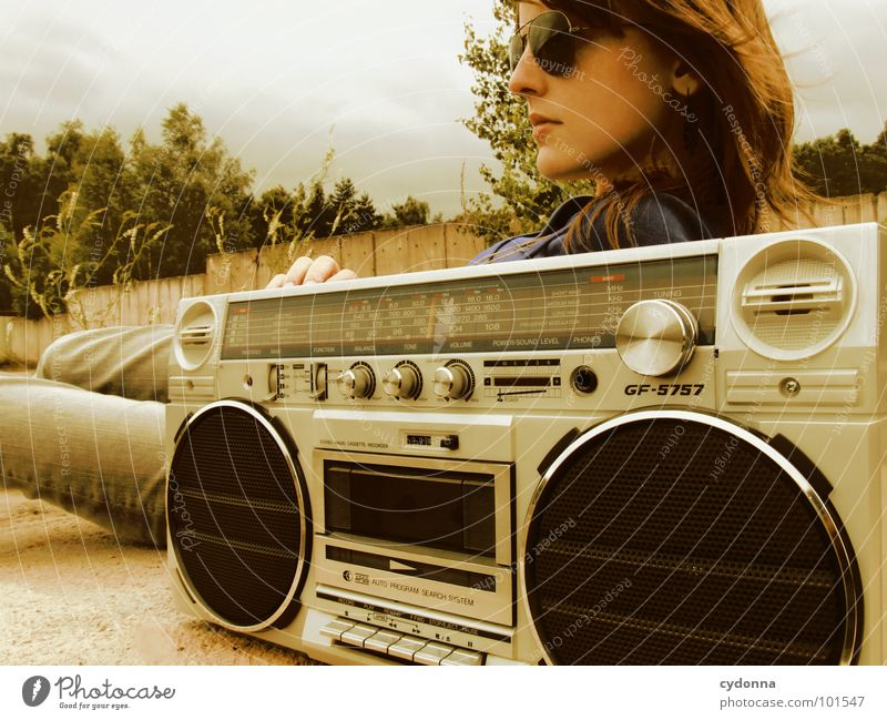 RADIO ACTIVE X Woman Style Music Sunglasses Industrial site Jacket Concrete Ghetto blaster Action Whim Emotions Backwards Derelict Human being Cool (slang) porn