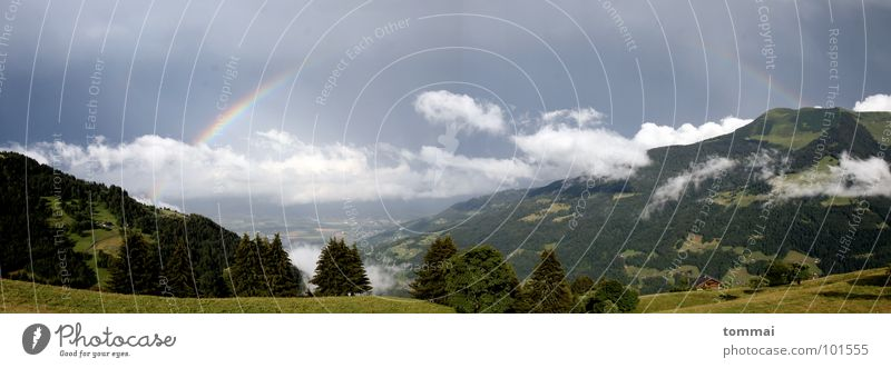 Rainbow in Valais (Panorama) Summer Autumn Clouds Canton Wallis Switzerland Panorama (View) Forest Meadow Green Dark Gray Light Reconciliation Mountain Weather