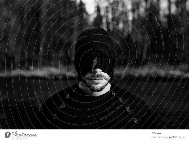 Who's afraid of sh...? Masculine Young man Youth (Young adults) 30 - 45 years Adults Autumn Bushes Forest River Fashion Sweater Cap Facial hair Dream Dark