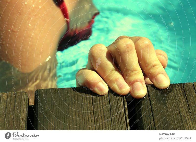 float on the edge Swimming pool Fingers Hand Summer Bikini Wood Wet Joy Water Swimming & Bathing