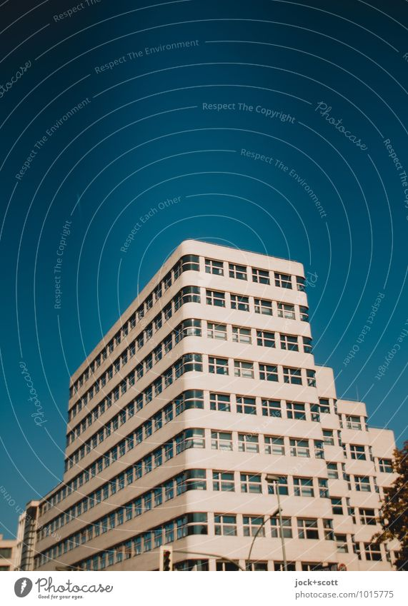 Shell House Sightseeing Bauhaus Cloudless sky Office building Facade Tourist Attraction Undulation Corner Elegant Modern Retro Blue Innovative Quality Symmetry