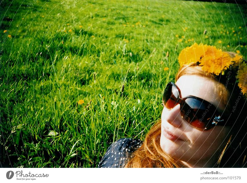 flower girl Green Yellow Meadow Sunglasses Analog Lomography Colour Dandelion sunglasses smile