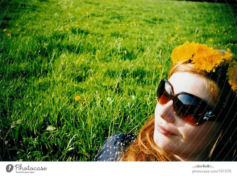 Green Yellow Colour Meadow Analog Dandelion Sunglasses