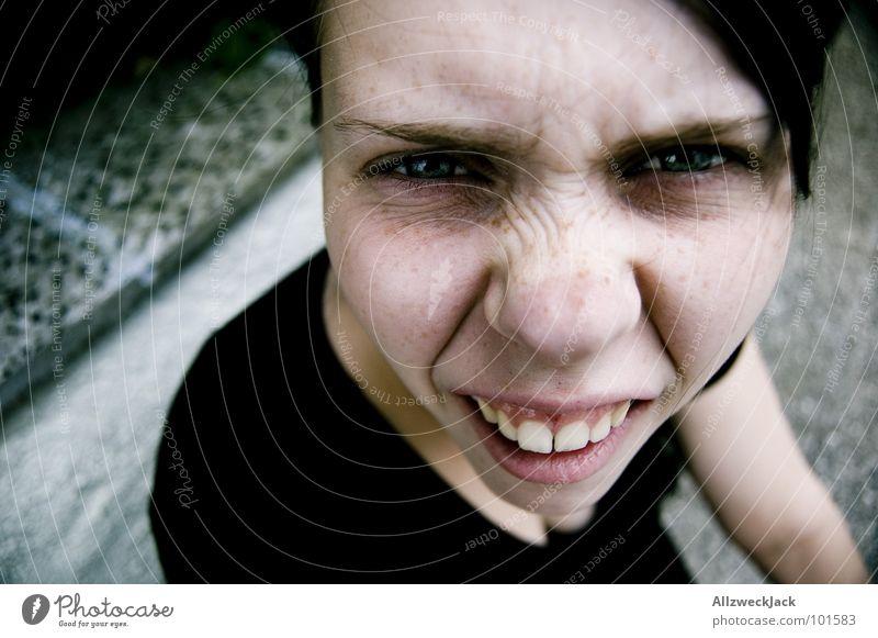 Woman Joy Face Communicate Stupid Ask Distorted Disbelief Misunderstand