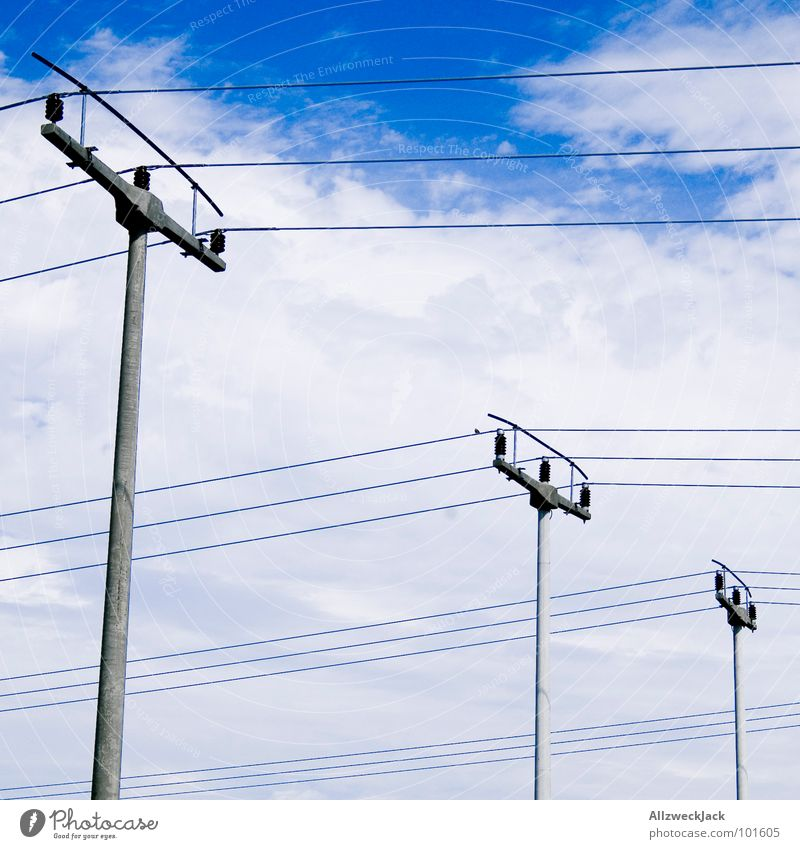 Sky Clouds 3 Industry Electricity Logistics Cable Services Connection Ladder Electricity pylon Transmission lines Connect High voltage power line Hang up Clothesline