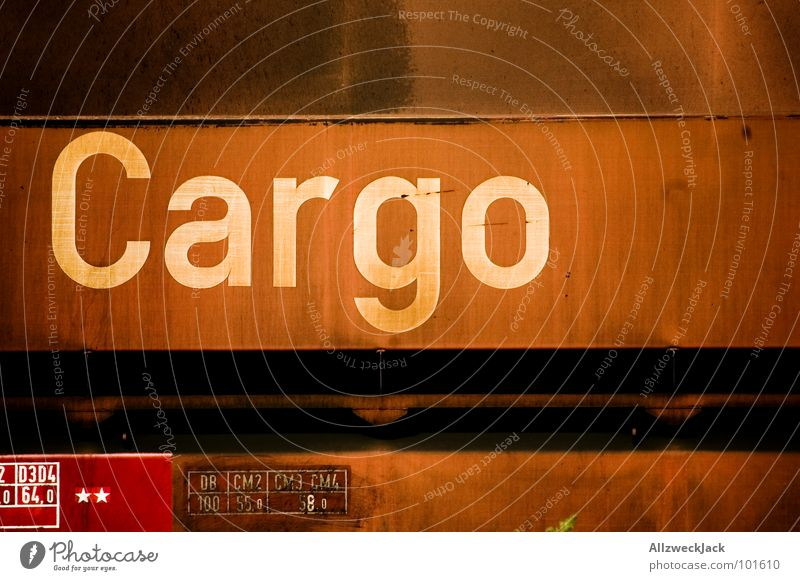 Metal Transport Railroad Industry Logistics Characters Letters (alphabet) Railroad tracks Rust Iron Goods Cargo Freight train Rail vehicle