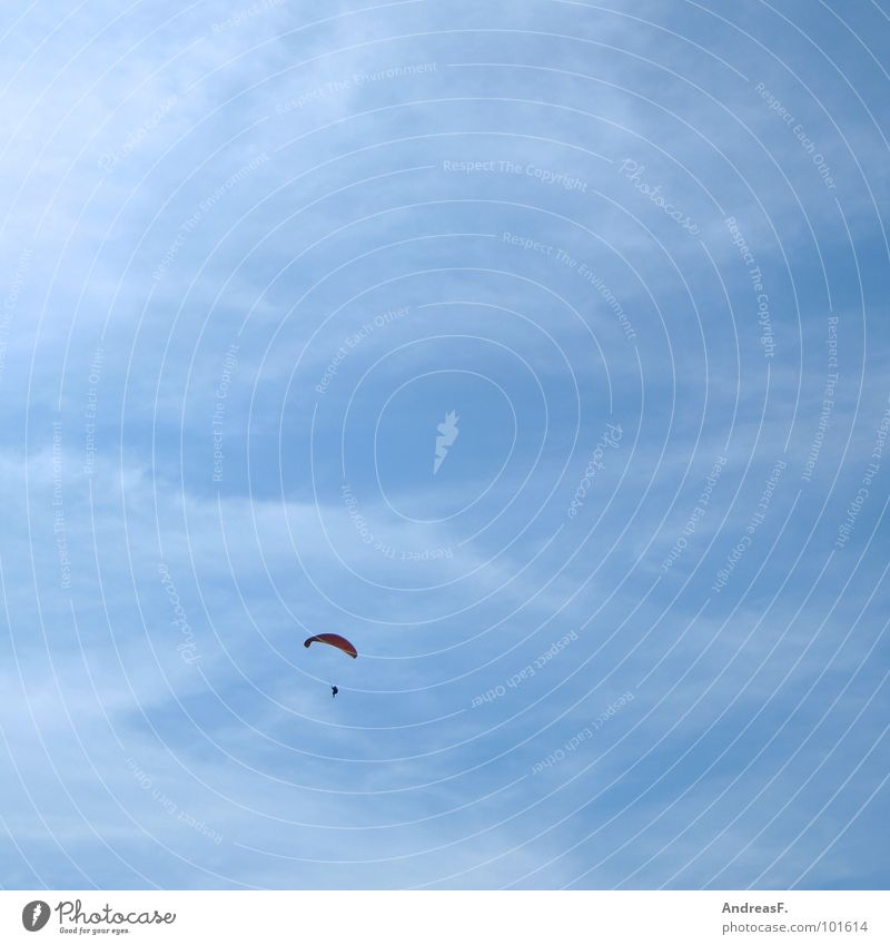 Sky Blue Summer Loneliness Sports Freedom Warmth Free Tall Aviation Leisure and hobbies Physics Beautiful weather Paragliding Parachute Paraglider
