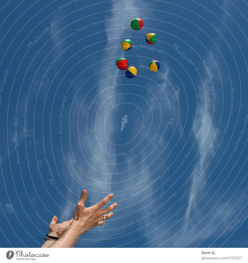 catcher Juggle Juggler Hand Bracelet Arranged Multicoloured Yellow Red Green Sky blue Heavenly Clouds Throw in the air Circle Formation Acrobatics Circus Art