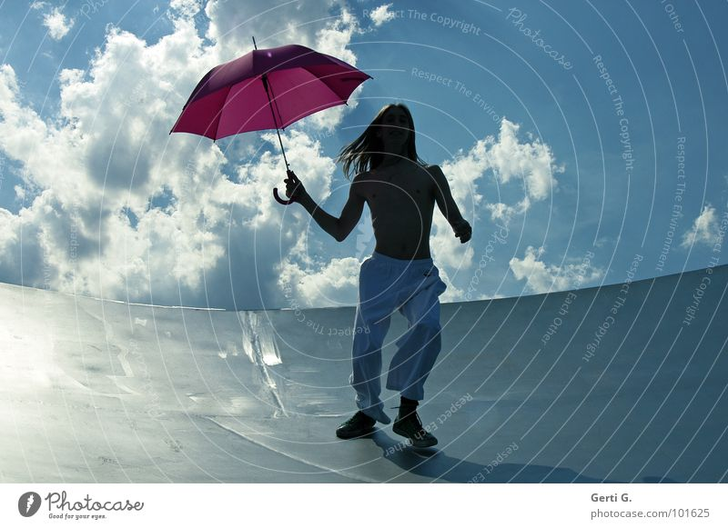 Human being Sky Youth (Young adults) Man Blue Summer White Young man Clouds Joy Movement Moody Pink Blonde Wind Walking