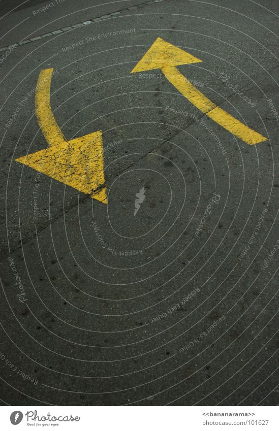 Yellow Street Style Gray Lanes & trails Line Going Transport Floor covering Simple Asphalt Pure Arrow Direction Symbols and metaphors Illustration