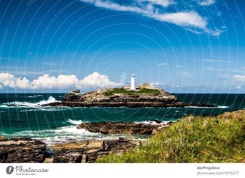 Lighthouse on island in Cornwall Leisure and hobbies Vacation & Travel Tourism Trip Far-off places Freedom Summer vacation Waves Environment Nature Landscape