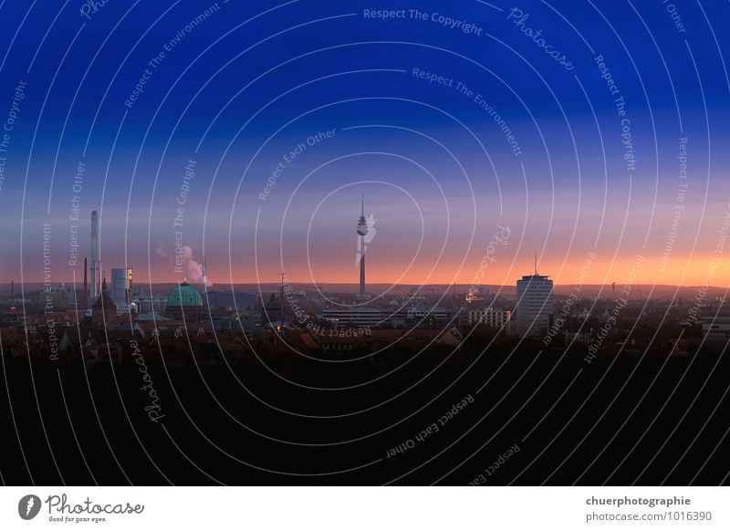 Blue hour Town Downtown Old town House (Residential Structure) Tower Tourist Attraction Landmark Television tower Perspective Colour photo Multicoloured