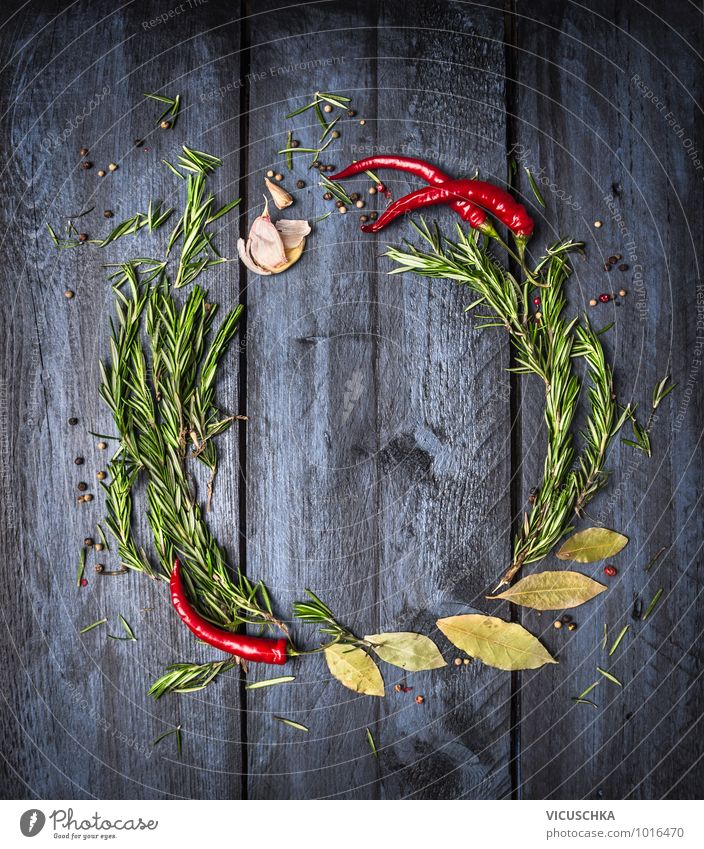 Rosemary, chili and spices on a blue wooden table Food Herbs and spices Nutrition Style Design Healthy Eating Life Kitchen Background picture Text Chili herbs