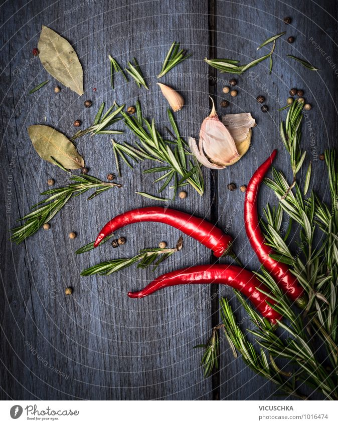 Red chilli and rosemary with spices Food Vegetable Herbs and spices Nutrition Style Design Life Kitchen Nature Chili Background picture Aromatic Blue Green