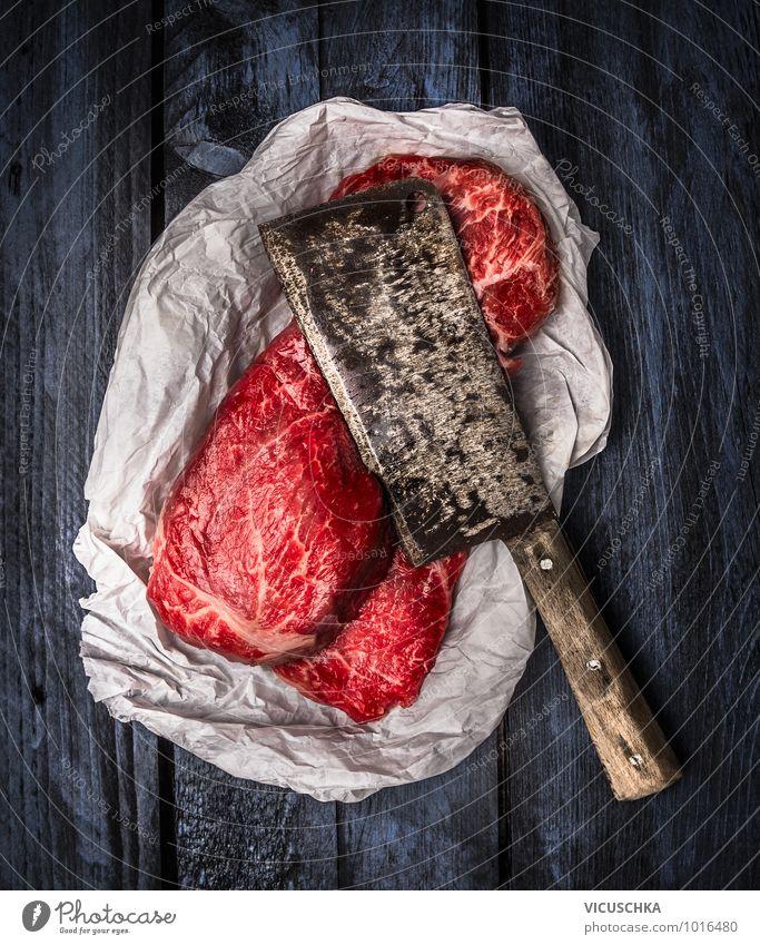 Blue Red Black Style Food Design Nutrition Paper Retro Cooking & Baking Silver Meat Shoulder Vintage Knives Banquet