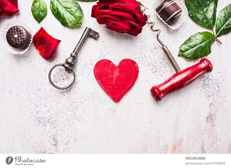 Green White Red Leaf Love Style Wood Feasts & Celebrations Design Heart Sign Symbols and metaphors Rose Card Event Candy