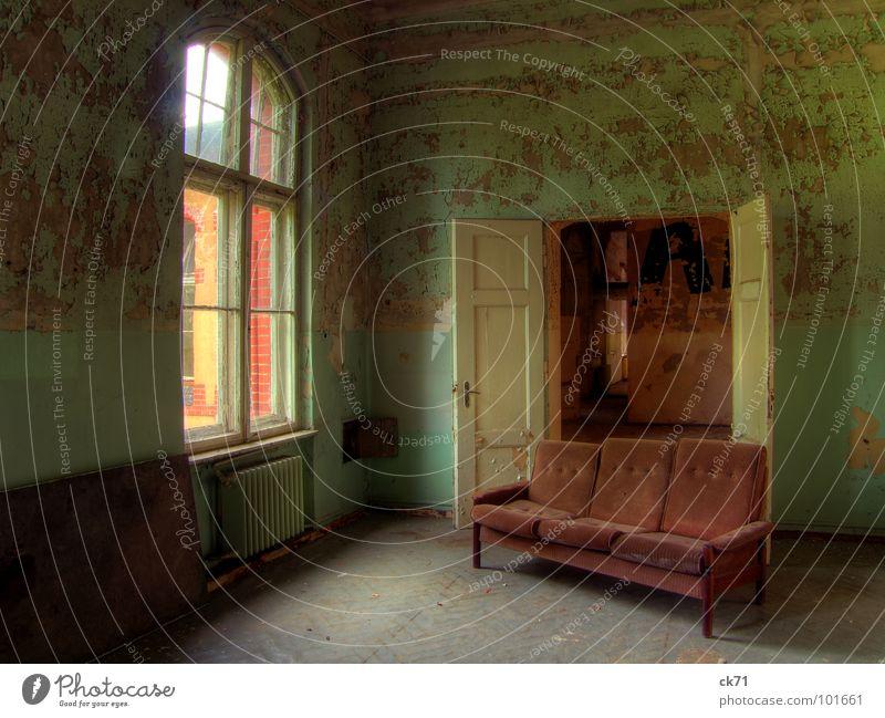 Green Loneliness Colour Window Door Broken Derelict Sofa Entrance Ruin Hallway Way out Brandenburg Sanitarium Sanatorium