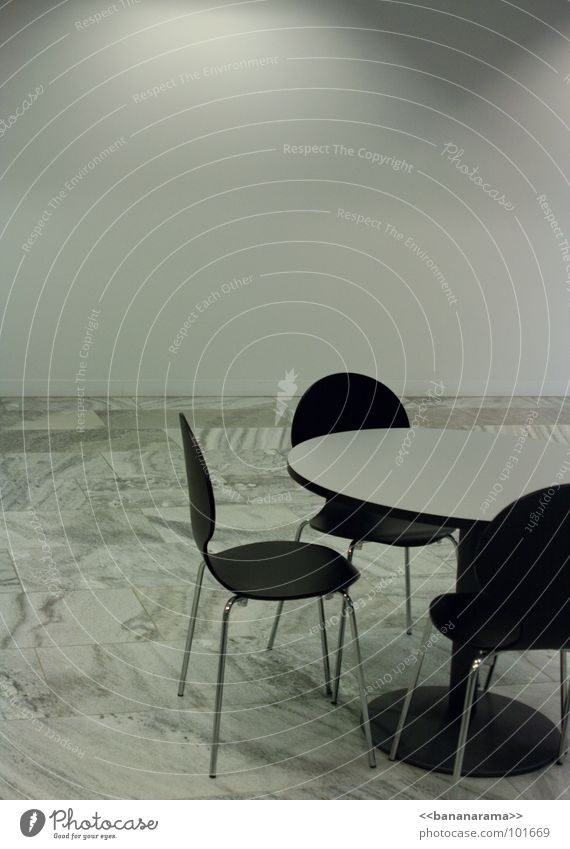 meeting Table White Meeting Cold Black Empty Calm Light Store premises Waiting room Time Gray Communicate Chair Room Date Marble Stone Loneliness Round