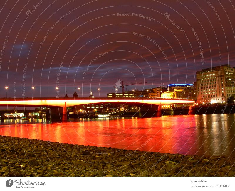 Water Sky Red House (Residential Structure) Clouds Street Lighting Bridge River London Night England