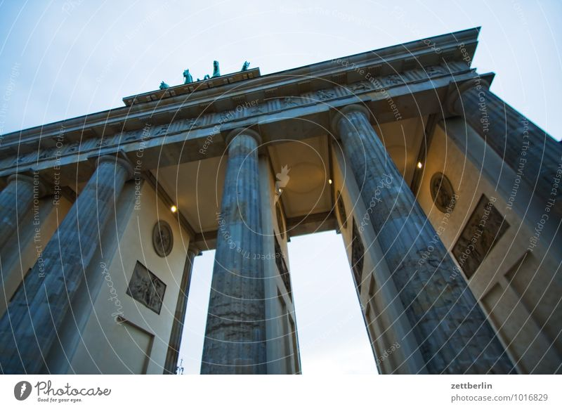 Brandenburg Gate Berlin Downtown Berlin Capital city Pariser Platz Landmark Column Classicism Quadriga Carriage and four Vista Passage Evening Twilight
