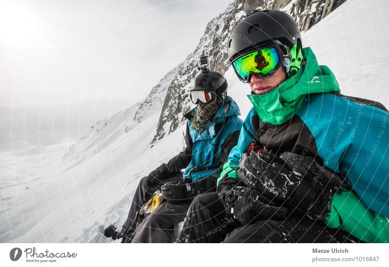 Human being Youth (Young adults) Young man Far-off places Winter 18 - 30 years Mountain Adults Snow Sports Freedom Together Rock Masculine Contentment Sit
