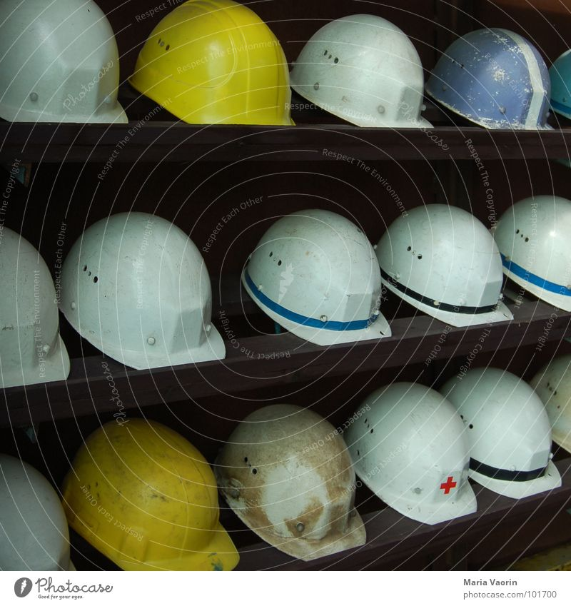 Work and employment Arrangement Dangerous Safety Construction site Protection Craft (trade) Accident Construction worker Helmet Working man Mining Shelves