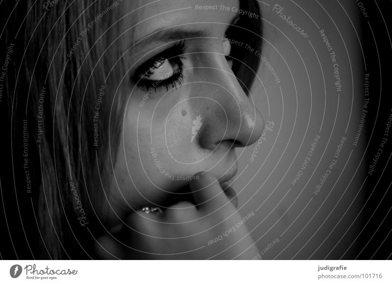 girl Portrait photograph Woman Youth (Young adults) 17 Fingers Hand Black & white photo Human being Face Listening Hair and hairstyles Eyes Mouth Nose Head