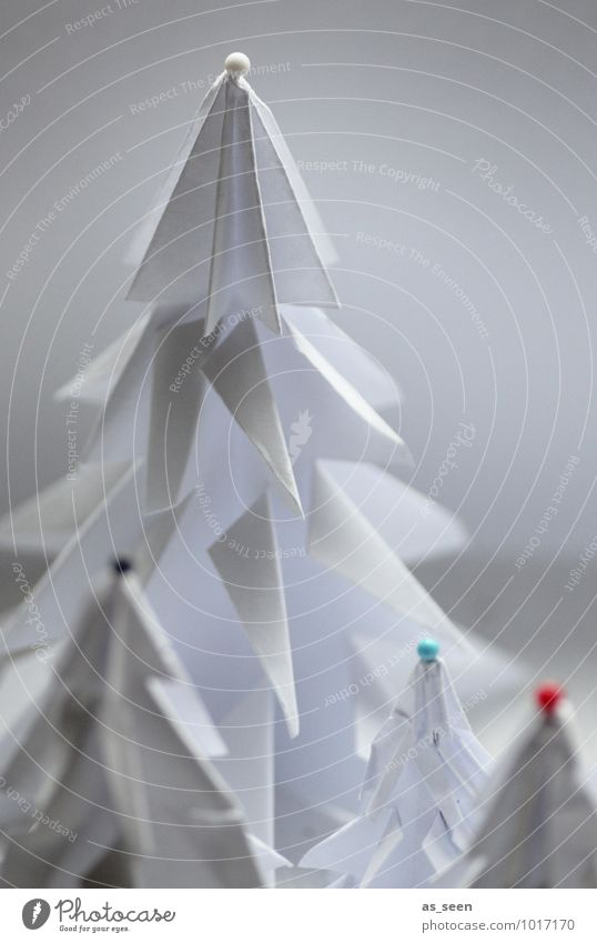 Folded and decorated Elegant Style Design Wellness Christmas & Advent Origami Arts and crafts  Landscape Winter Snow Tree Fir tree Christmas tree Forest Paper