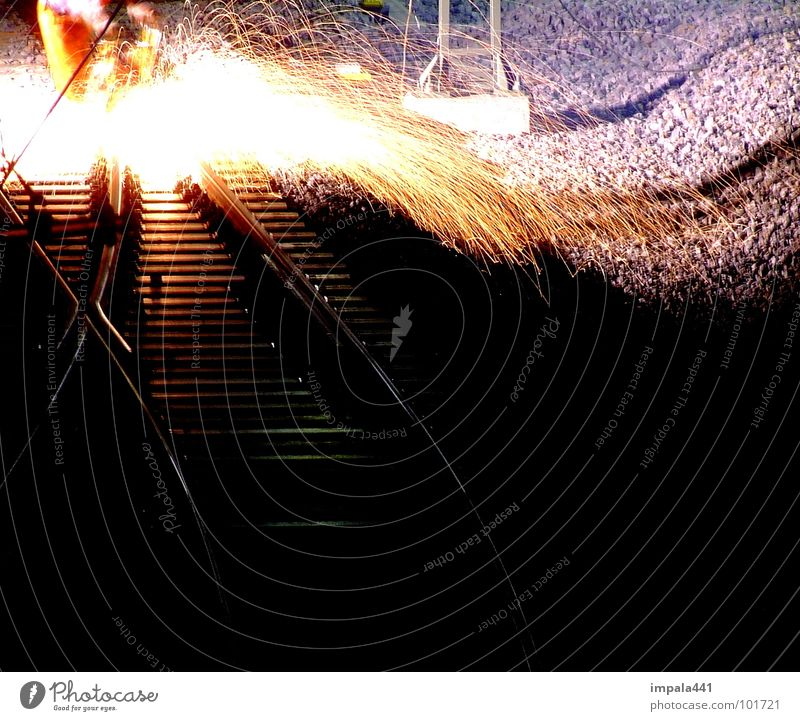 Man Dark Work and employment Blaze Railroad Industry Spark Welding Grinding (constr.)