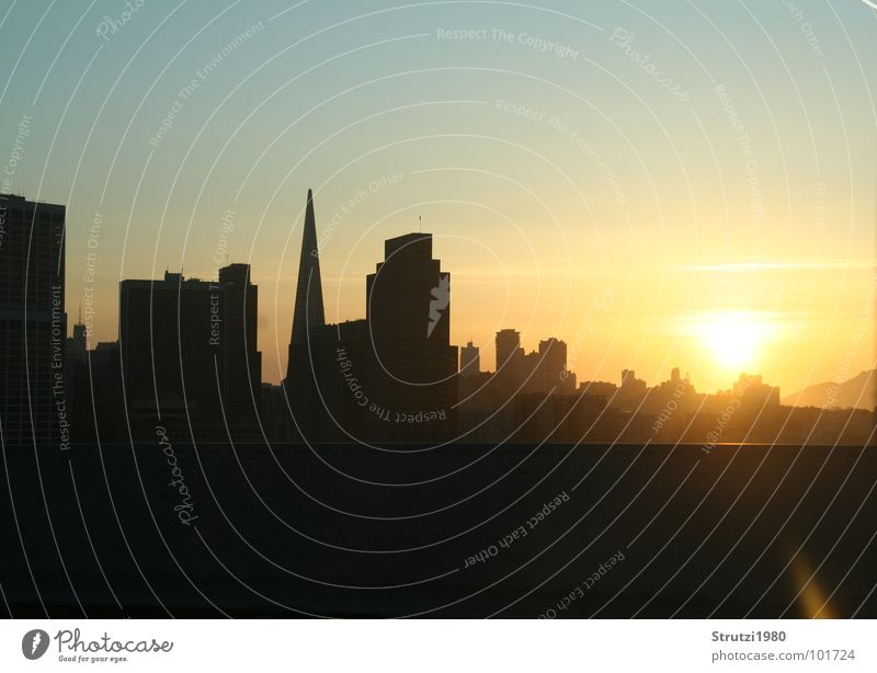 Sunset in San Francisco Yellow High-rise House (Residential Structure) Town Dream California Evening Shadow Silhouette American Dream USA