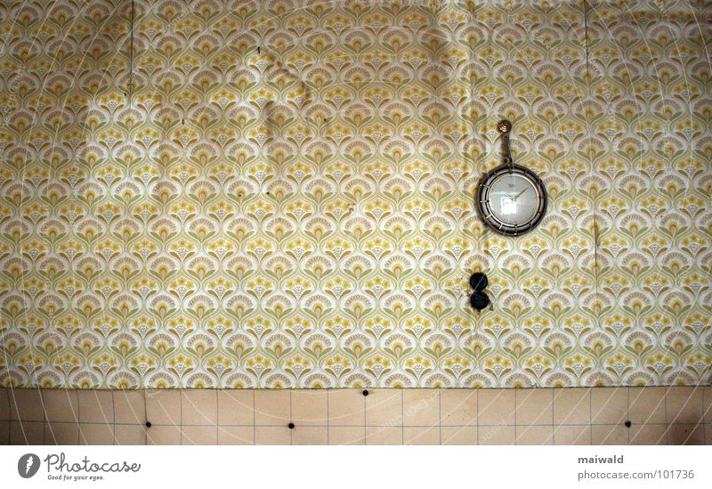 The ravages of time Wall (building) Wallpaper Clock Past Kitchen Pattern Dirty Brown Broken Time Beige Yellow Interior shot Private Derelict Old Shabby