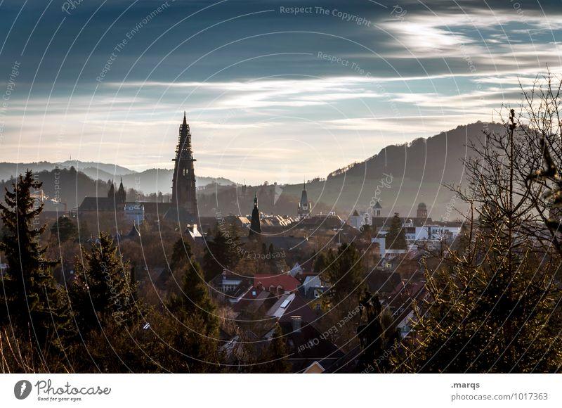 Sky City Tree Landscape Clouds House (Residential Structure) Mountain Horizon Tourism Idyll Trip Church Beautiful weather Freiburg im Breisgau
