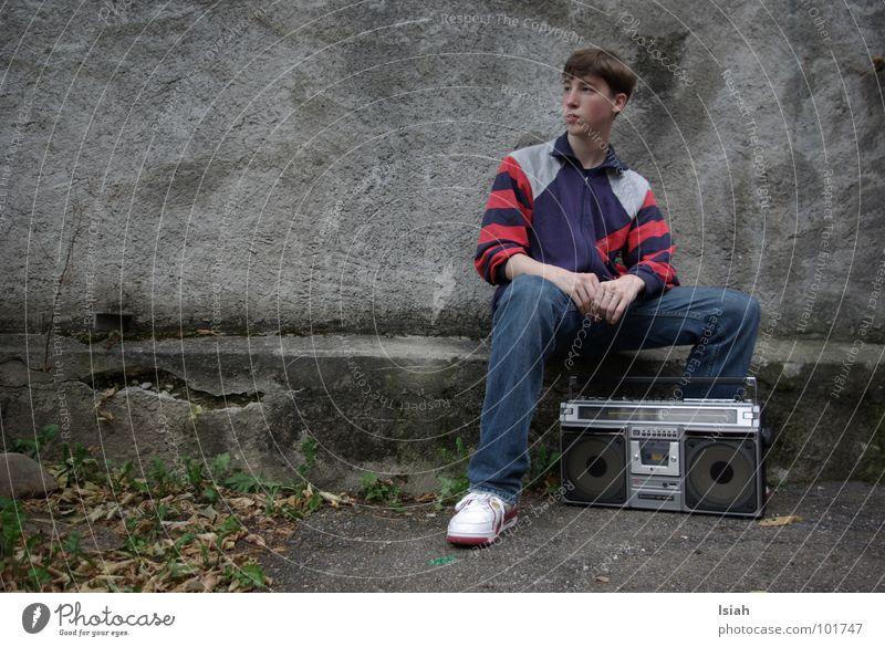 chief rocka Ghetto blaster Gray Retro Hip-hop Coach Cold Autumn Leaf Dark Concert Music east-zonal boy Jeans Posture white kickz the one chief rocka