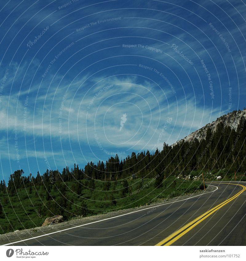 Sky Tree Green Blue Summer Clouds Street Meadow Mountain Landscape USA Asphalt Traffic lane