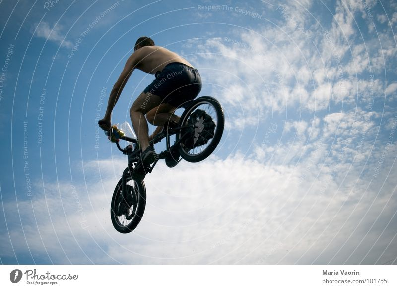 aerial flight Air Airplane Free Headwind Jump To fall Far-off places Infinity Springboard Career Beginning Go-getter Freestyle Crash Discarded Bicycle Dangerous