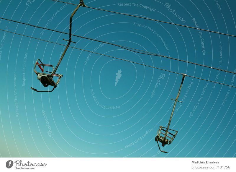 Green Blue Empty In pairs Steel Diagonal Steel cable Turquoise Upward Downward Tilt Blue sky Alpine Cloudless sky Chair lift Incline