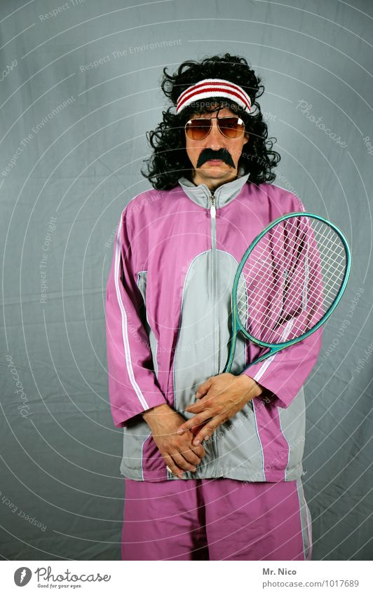 game set match Lifestyle Leisure and hobbies Sports Ball sports Masculine Sunglasses Black-haired Curl Moustache Whimsical Tennis rack Track-suit top