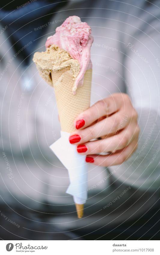 dessert Joy Warmth Feminine Style Eating Moody Food Lifestyle Leisure and hobbies Wild Elegant Happiness Trip Smiling Ice cream Fingers