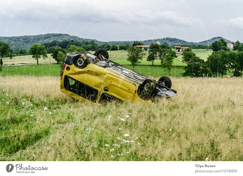 Car accident Meadow Small Yellow Flip over Crushed Damage Spain Navarra Valley Accident Condition Broken Junk Colour photo Deserted Evening Front view