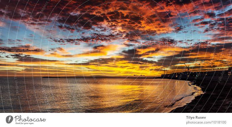 Ocean sunset Beautiful Sun Waves Environment Nature Landscape Water Sky Clouds Night sky Sunrise Sunset Autumn Natural Blue Ground Flow Splash Splashing Glow