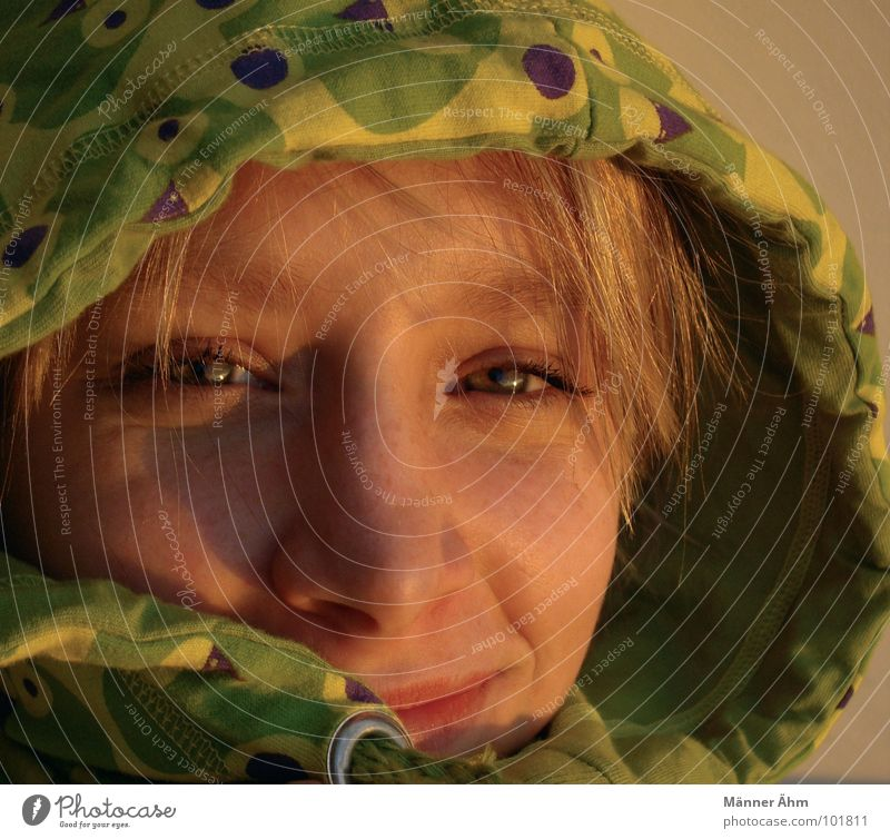 Dusk. Woman Hooded (clothing) Head Face Portrait photograph Face of a woman Young woman 18 - 30 years Looking into the camera Smiling Congenial