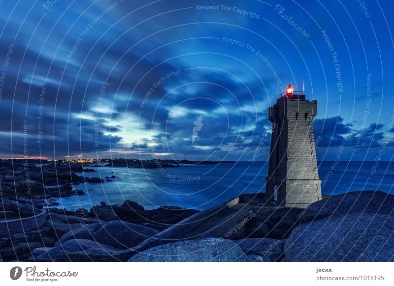 Sky Old Blue Landscape Red Clouds Black Rock Illuminate Tall Large Beautiful weather Safety France Lighthouse Brittany