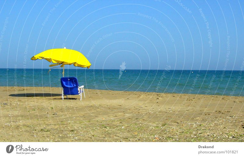 Water Sky Ocean Blue Summer Beach Vacation & Travel Calm Yellow Sand Horizon Chair Remainder Cheerful