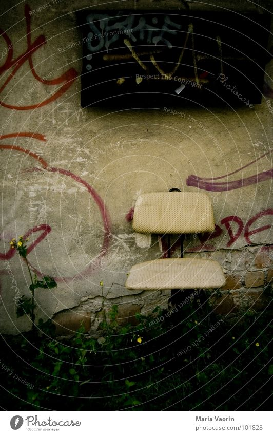 Old Loneliness Relaxation Graffiti Wall (barrier) Sit Dirty Gloomy Chair Transience Furniture Seating Foliage plant Bolster Office chair Swivel chair