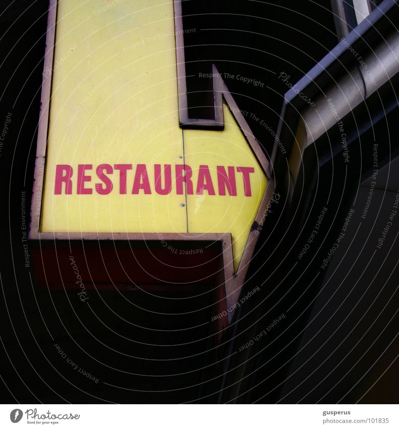 Signs and labeling Gastronomy Advertising Arrow Restaurant Direction Signage Typography Word Section of image Clue Invitation Neon sign Capital letter