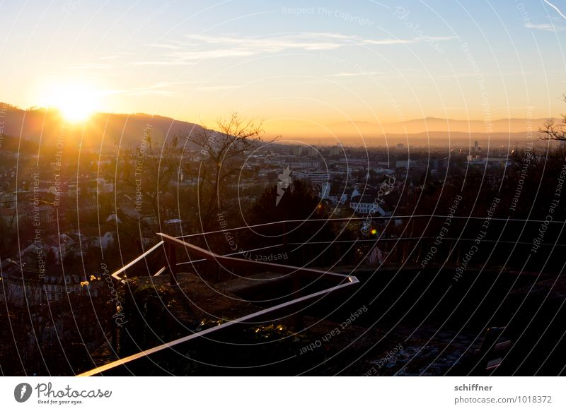 residual rays Landscape Sun Sunrise Sunset Sunlight Winter Beautiful weather Hill Small Town Downtown Dark Vantage point Horizon Rhine plain Canton Freiburg
