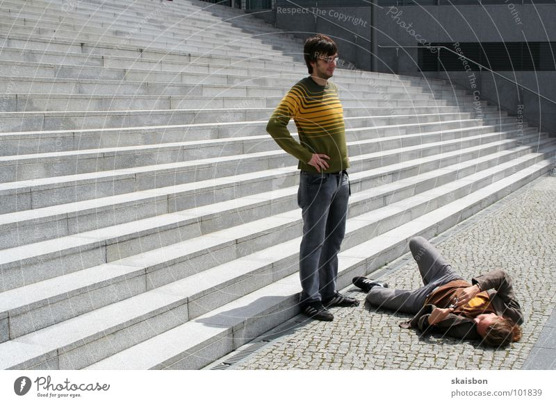 Searching Stand Posture Position Take a photo To hold on Give Grimace Couple 2 Creativity Gray Progress Pattern Concrete Stripe Photographer Absurdity Joke