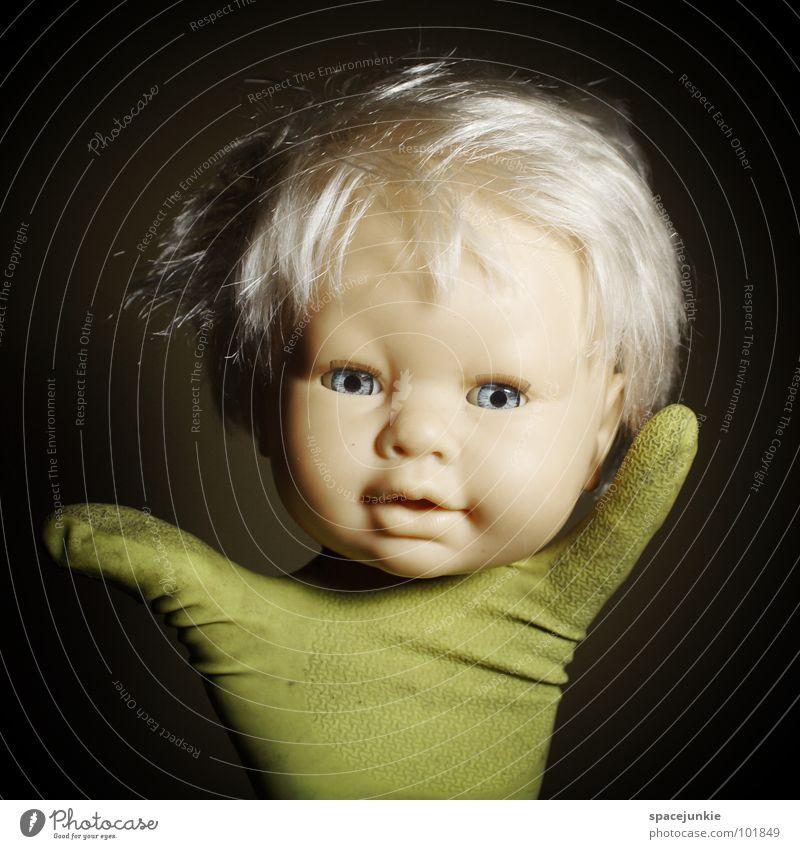 Hand Blue Joy Eyes Hair and hairstyles Fear Blonde Sweet Threat Toys Creepy Wild animal Cute Doll Whimsical Evil