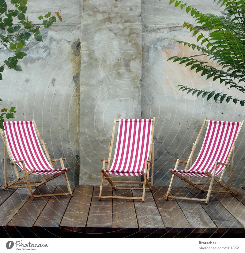 empty chairs Deckchair Terrace Striped Empty Grief Miss Wall (barrier) Wood Frustration Summer Relaxation 3 Chair Dream To enjoy Closing time Boredom Club