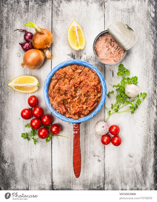 Tomato sauce with tuna fish and ingredients Food Fish Vegetable Herbs and spices Cooking oil Nutrition Lunch Banquet Organic produce Vegetarian diet Diet